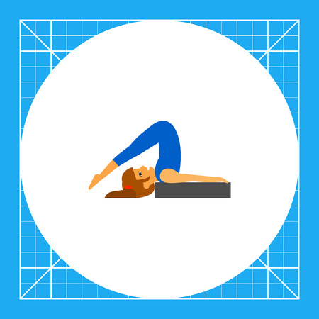 Woman doing yoga in halasana pose, side view. Exercise, stretching, balance. Asana concept. Can be used for topics like yoga, health, fitness.