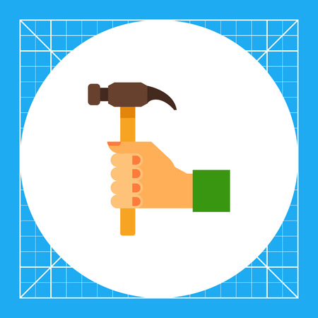 woodwork: Illustration of right human hand with hummer. Woodwork, fixing, instrument. Hand with hummer concept. Can be used for topics like woodwork, tools, hobby