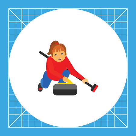 sportwoman: Illustration of female character with curling broom and stone. Curling sport, playing, competition. Curling sport concept. Can be used for topics like curling sport, competition, leisure activity Illustration