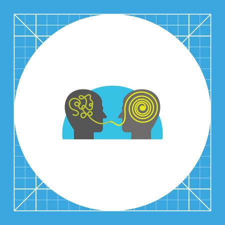 Dos cabezas parlantes e interpretar la información. Caótica, el chat, el cerebro. concepto de comprensión. Puede ser utilizado para temas como la comunicación, los medios sociales, marketing. Ilustración de vector