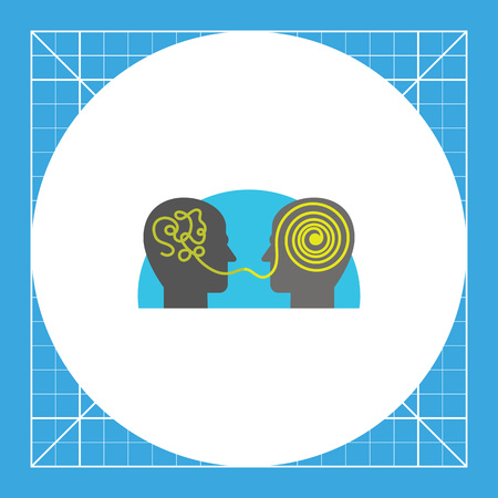 Two heads talking and interpreting information. Chaotic, chat, brain. Understanding concept. Can be used for topics like communication, social media, marketing. Vettoriali