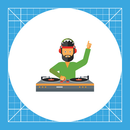 DJ man wearing headphones and using DJ mixer. Sound, dancing, nightclub. DJ concept. Can be used for topics like music, entertainment, technology. Illustration