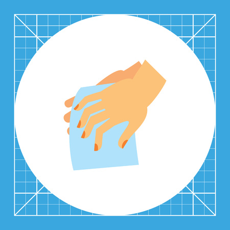 habit: Hands drying with cloth. Clean, wet, habit. Washing hands concept. Can be used for topics like hygiene, health, healthcare. Illustration