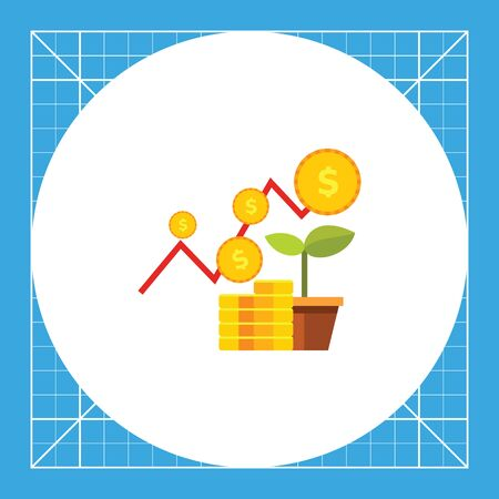 increasing: Growing graph, stack of coins and sprout. Strategy, success, growth. Financial business plan concept. Can be used for topics like finance, business, banking.