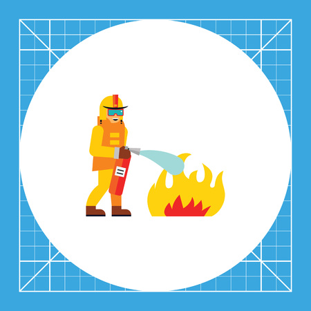 extinguishing: Firefighter extinguishing fire. Rescue, danger, emergency. Firefighter concept. Can be used for topics like firefighting, marketing, rescue service.