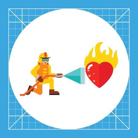 消防士は、消火の水の流れと燃えている心臓。保存、中毒、高温。情熱のコンセプトです。消防、愛、ロマンスのようなトピックに使用できます。