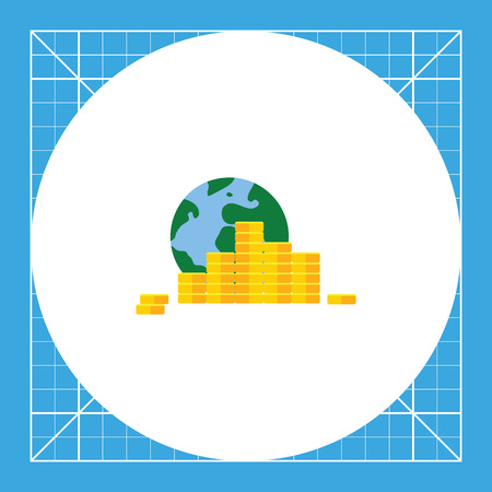 international banking: Earth globe and stacks of coins. Wealth, online, international. Money concept. Can be used for topics like finance, business, banking.