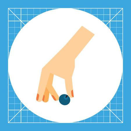 whortleberry: Hand picking berry. Plant, summer, whortleberry. Picking berries concept. Can be used for topics like nature, botany, food. Illustration