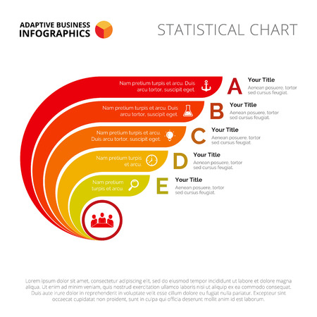 Process chart slide template. Business data. Graph, diagram, design. Creative concept for infographic, templates, presentation, report. Can be used for topics like planning, management, economics. Ilustrace