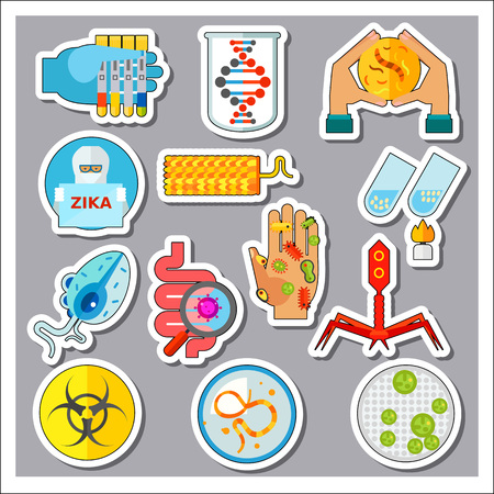 Viruses Icons Set. Biohazard Sign Volvox Tobacco Mosaic Trichomoniasis Vaginalis Man with Zika Sign Petri Dish Hand with Bacteria Test Tubes Digestive Tract with Virus Genome Bacteria Bacteriophage