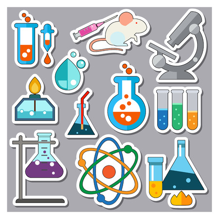 Lab Equipment Icons Set. Lab Mouse and Syringe Microscope Bubble of Water Test Tubes Heating Flasks Tube and Pipette Gas-burner Atom Conical Flask Laboratory Flask Chemical Flask on Support