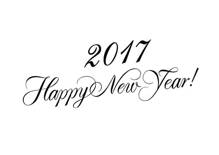text year: Happy New Year 2017 lettering. Christmas design element. Handwritten text, calligraphy. For greeting cards, posters, leaflets and brochure.