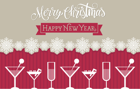 champagne flute: Merry Christmas calligraphic lettering and Happy New Year inscription on ribbon. Cocktails, flute of champagne, snowflakes. Holiday concept. Calligraphy can be used for postcards, banners, posters
