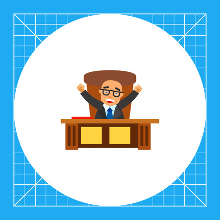 Male character sitting at office table with hands up. Chief, success, happy. Boss concept. Can be used for topics like business, marketing, management.