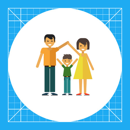 belt up: Multicolored vector icon of happy family consisting of man, woman and one child