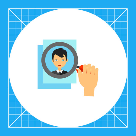 the applicant: Multicolored vector icon of human hand with magnifying glass on photo of applicant, representing head hunting concept