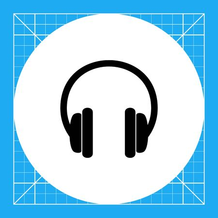 aural: Monochrome vector icon of pair of headphones with big circular earpads