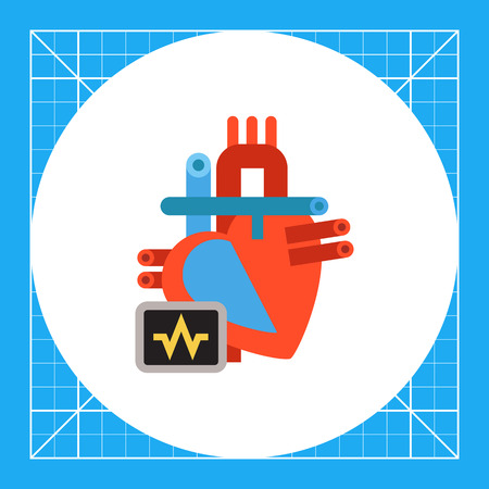 Multicolored vector icon of heart and electrocardiogram on display