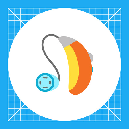 Multicolored flat icon of hearing aid apparatus