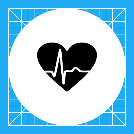 pulsating: Heart with heartbeat line graph. Monitoring, data, care. Cardiogram concept. Can be used for topics like medicine, health, healthcare, cardiology.