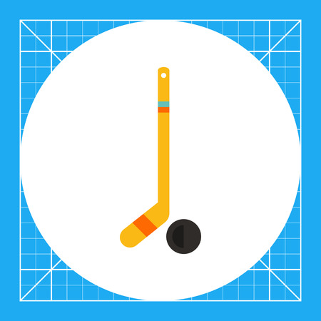 puck: Multicolored vector icon of hockey stick and puck
