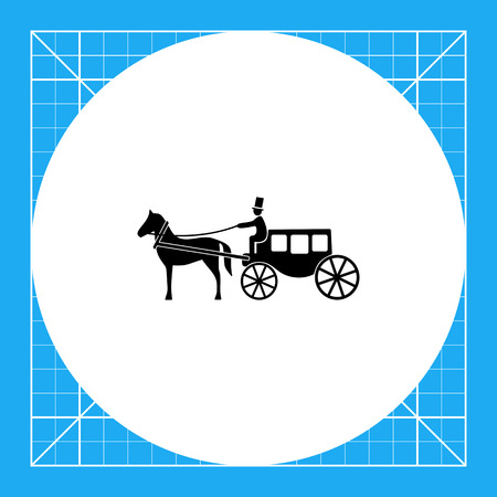 brougham: Monochrome vector icon of horse coach with coachman