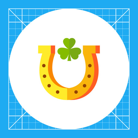 fortune concept: Horseshoe with leaf of trefoil inside. Fortune, talisman, decoration. Luck concept. Can be used for topics like gambling, marketing, mythology.