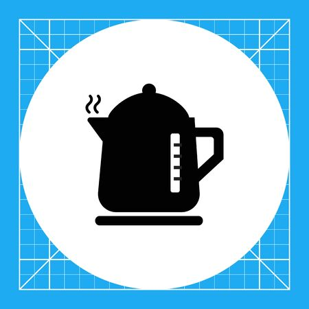 electric kettle: Vector icon of hot electric kettle silhouette Illustration
