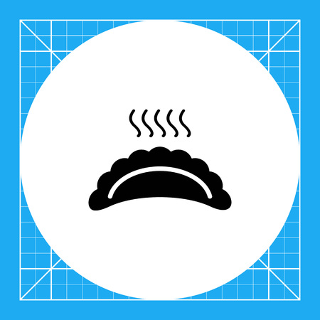 cooked meat: Vector icon of hot ravioli with steam