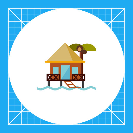Bungalow on water. Sea, beach, rest. Hotel on water concept. Can be used for topics like summer, vacation, resorts. Illustration