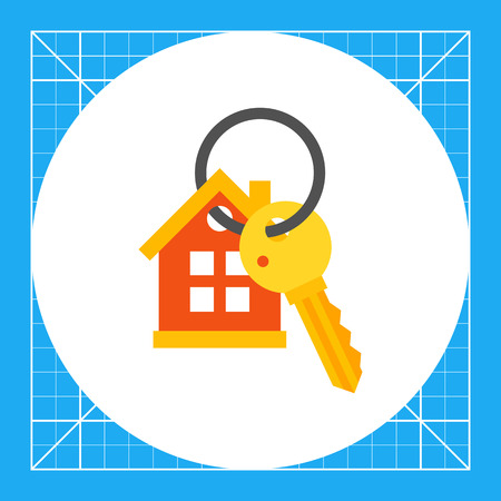 locking: House keyring and key. Protection, locking, property. Key concept. Can be used for topics like finance, technology, business.