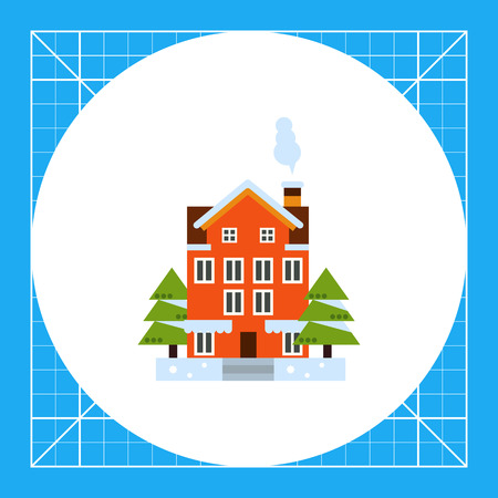 Multicolored vector icon of red four-story house and two fir trees