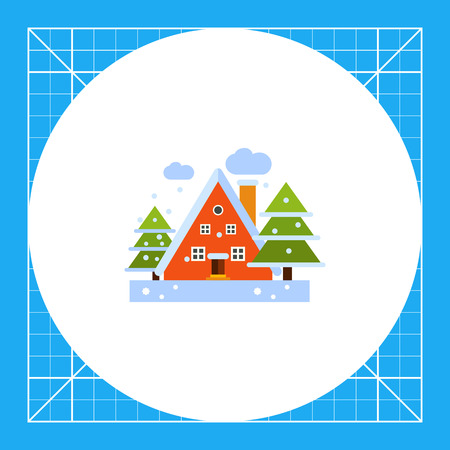 Multicolored vector icon of red tree-story house and two fir trees in winter