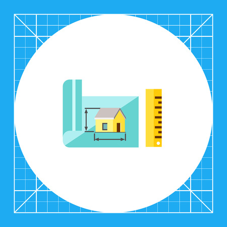 dimension: Multicolored vector icon of house project with dimension lines and ruler