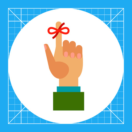Multicolored vector icon of human hand and red bow