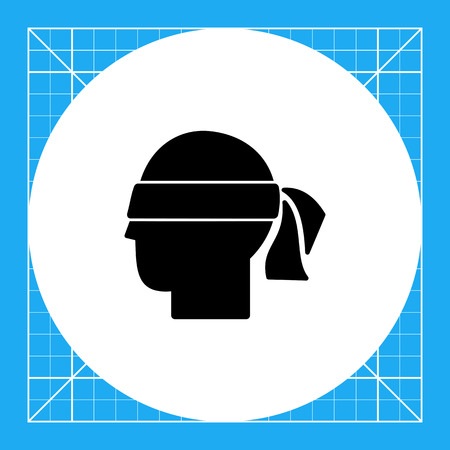 Head with blindfold. Hunch, intuition, premonition, suspicion. Hunch concept. Can be used for topics like communication, psychology, personality