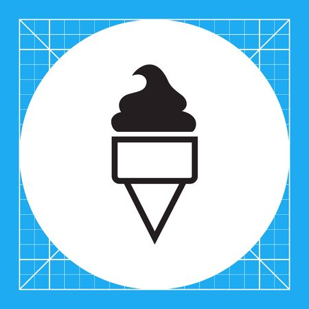 ice cream soft: Vector icon of soft ice cream in waffle cone Illustration