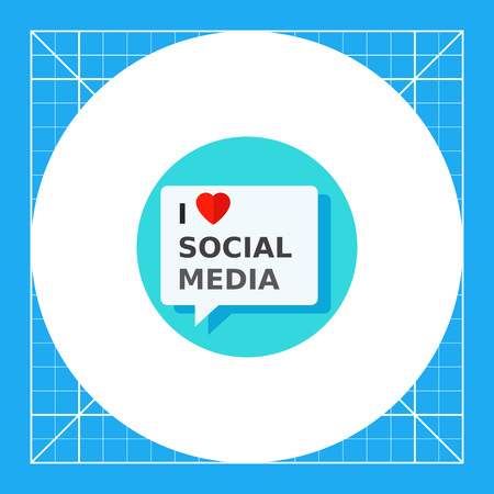 advertising network: Illustration of I love social media inscription in speech bubble. Heart symbol, communication, network. I love social media concept. Can be used for topics like social media, advertising, network