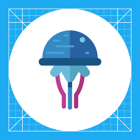 Multicolored vector icon of blue cartoon jellyfish
