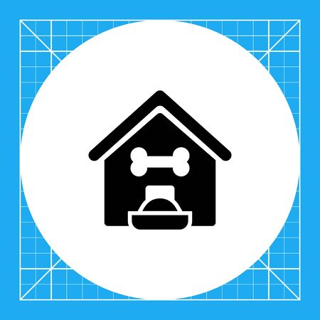kennel: Vector icon of kennel and filled dog bowl Illustration