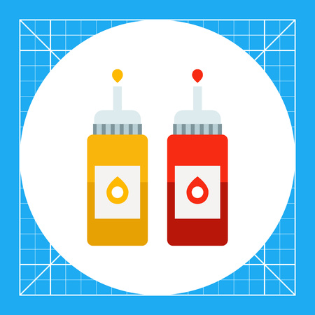dressing: Vector icon of ketchup and mustard bottles with dispenser