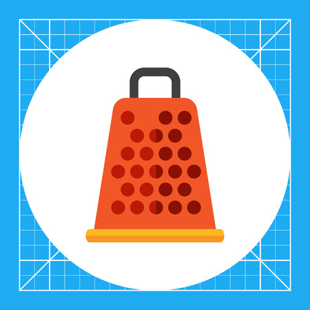 Multicolored vector icon of orange kitchen grater with handle