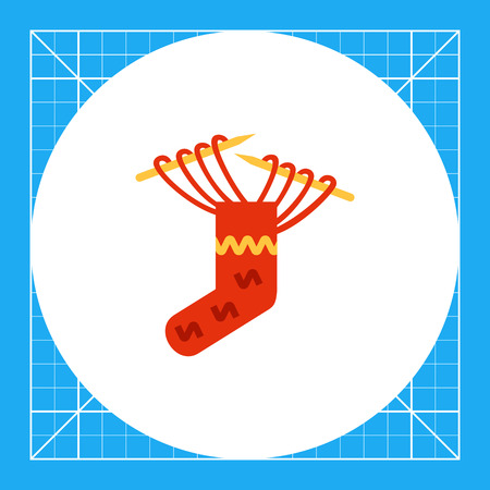Multicolored vector icon of knitting needles and red sock