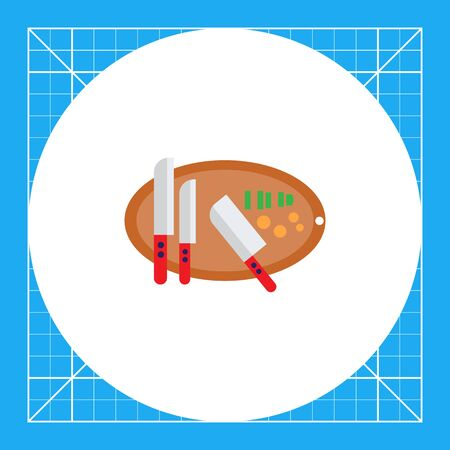 Vector icon of knives on oval cutting board with some chopped vegetables on it