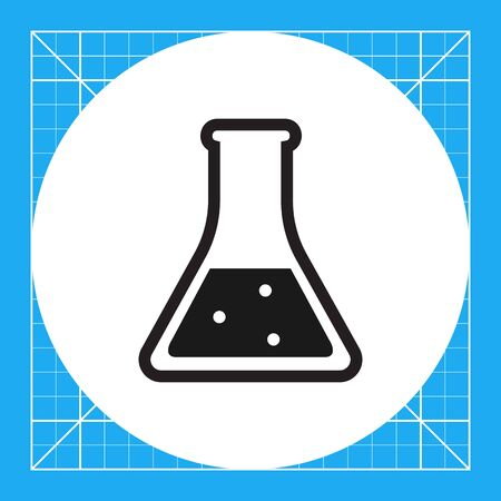 Vector icon of chemical laboratory flask with bubbling liquid