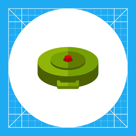 topics: Land mine. Explosion, danger, hidden. Bomb concept. Can be used for topics like war, weapon, technology. Illustration