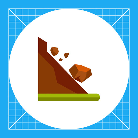 landslide: Stones rolling down slope. Danger, mountain, foot. Landslide concept. Can be used for topics like geology, geography, business.