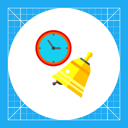 beginning: Clock and ringing golden bell. School, beginning, learning. Lesson concept. Can be used for topics like study, teaching, education.