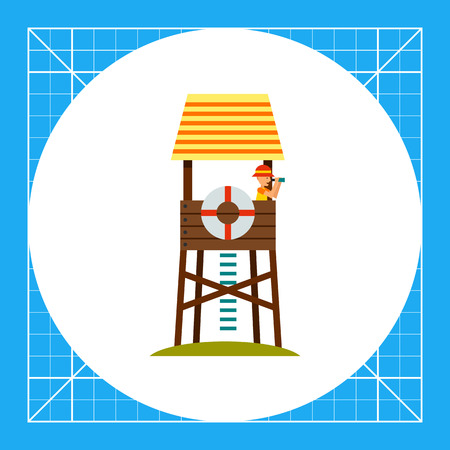 rescuing: Lifeguard tower with beach-rescuer watching in binoculars. Sea, beach, safety. Lifeguarding concept. Can be used for topics like summer, vacation, resorts. Illustration