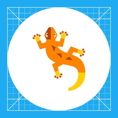 Multicolored vector icon of orange creeping lizard Illustration